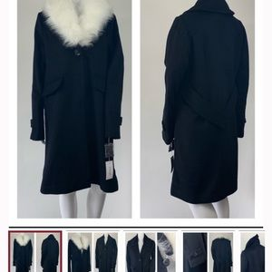 Derek Lam dark navy faux fur trim coat